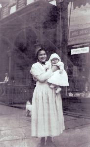Lura Lauver Slabaugh and a baby